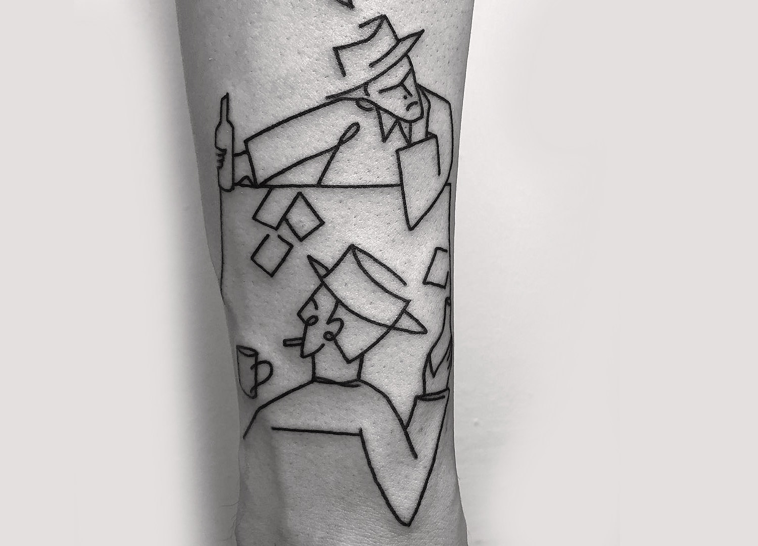 Caleb Kilby line art tattoo