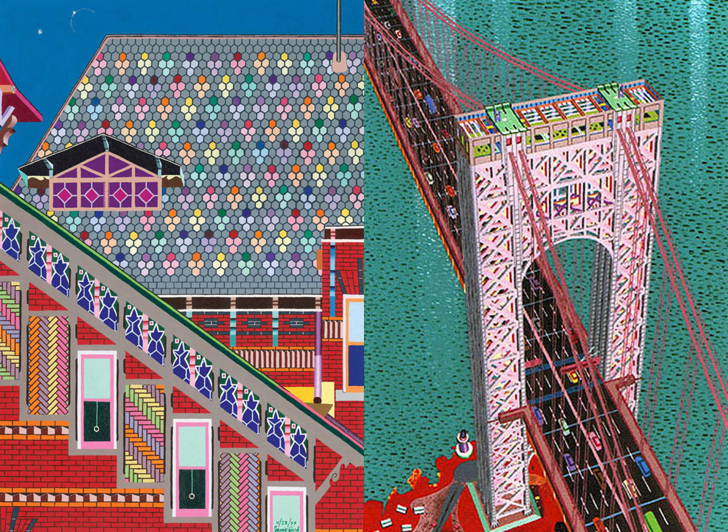 colorful house and ny bridge, art by jessica park, autism
