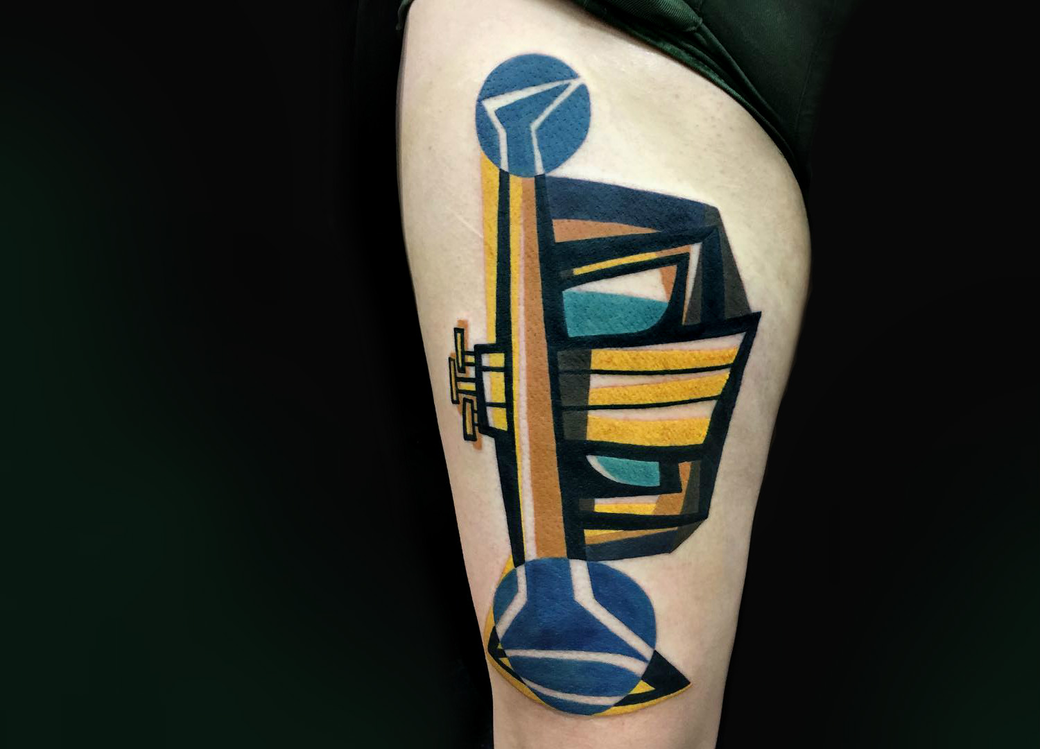 Contemporary art trumpet tattoo by Mike Boyd