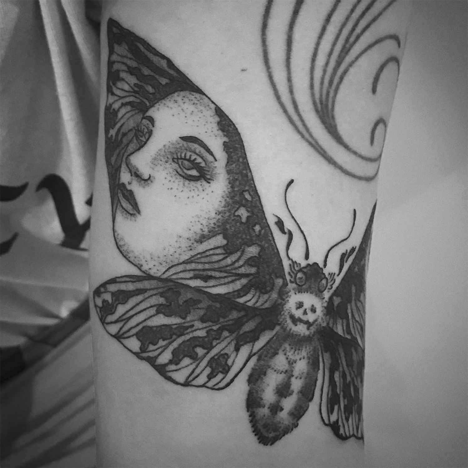 vintage style tattoo, moth and girl, by Marcus Filiputti