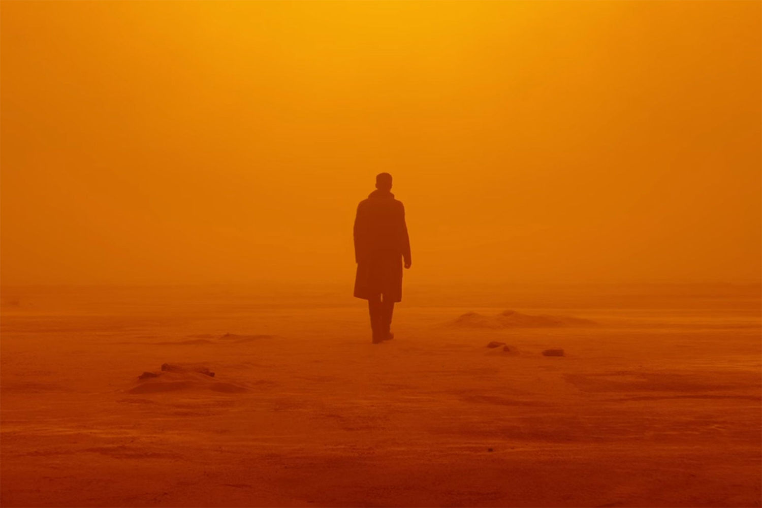 red sky and land, silhouette of man, Blade Runner 2049