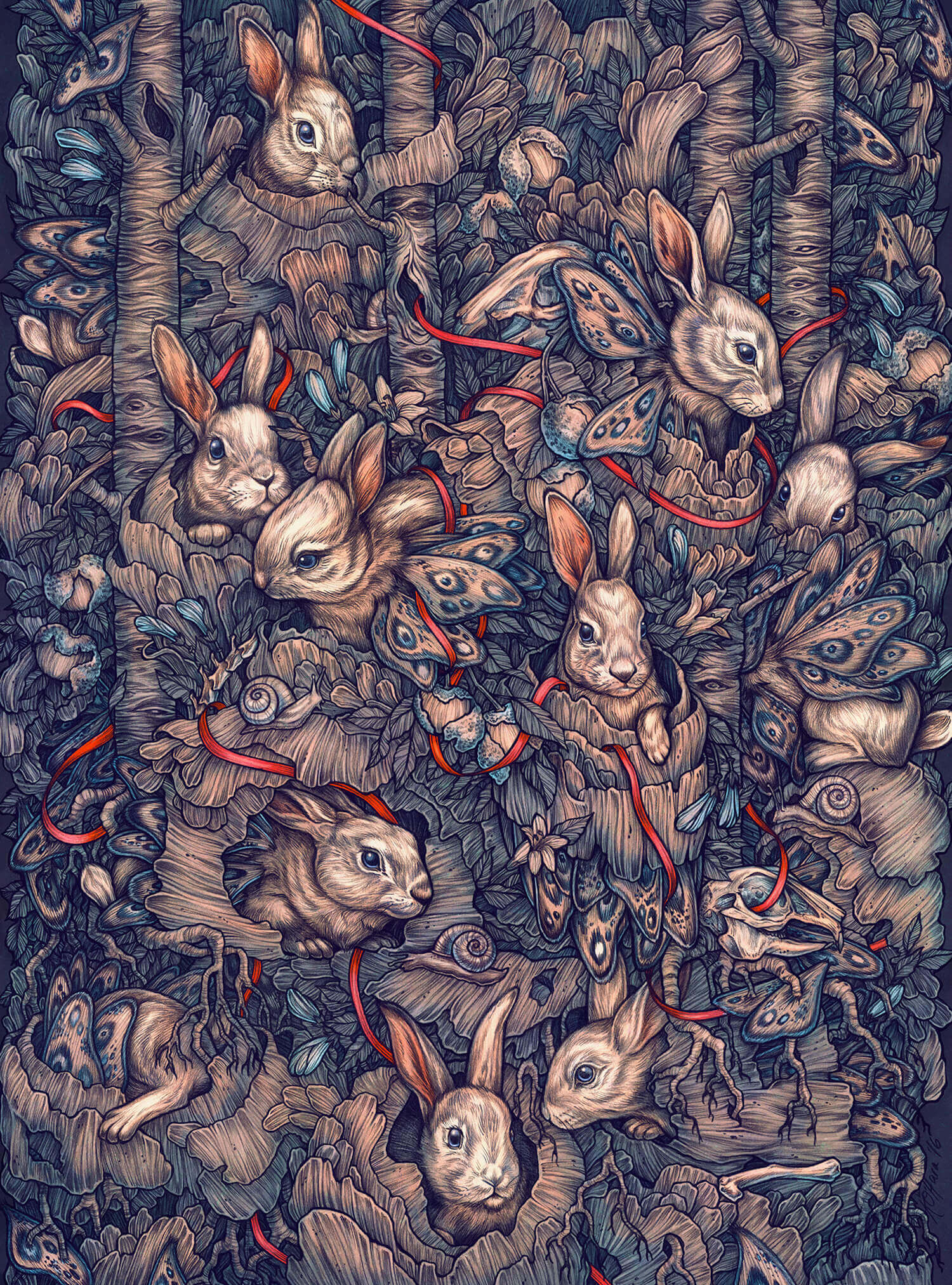 bunnies as butterflies by kate o' hara