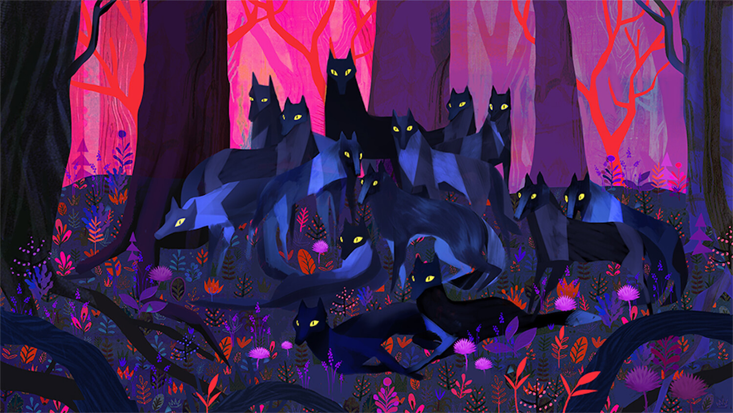 concept art of wolves by Juliette Oberndorfer