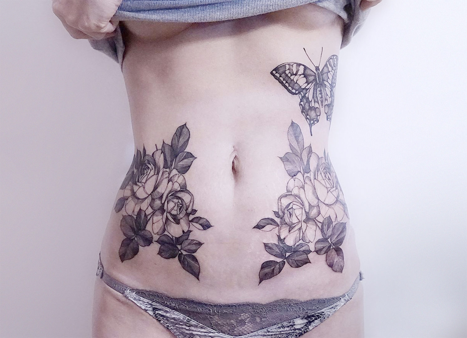 body, floral tattoos by Zihwa