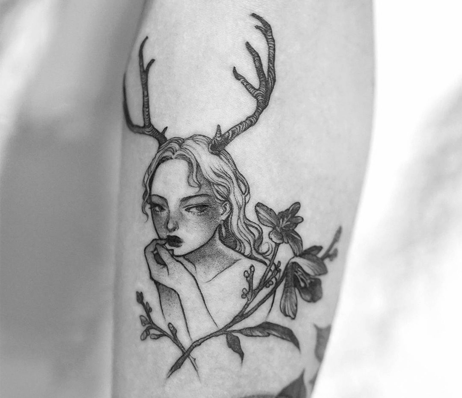 reindeer girl. tattoo by Zihae