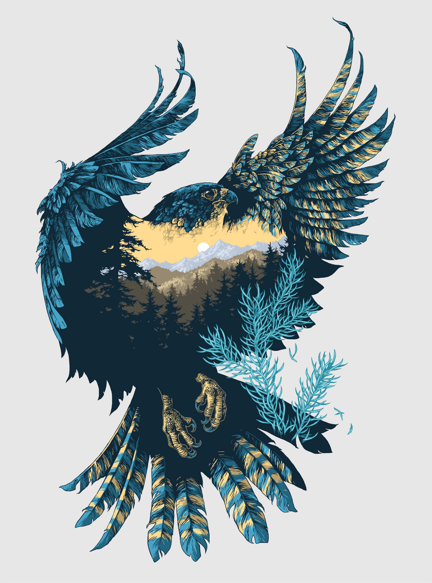double exposure bird illustration