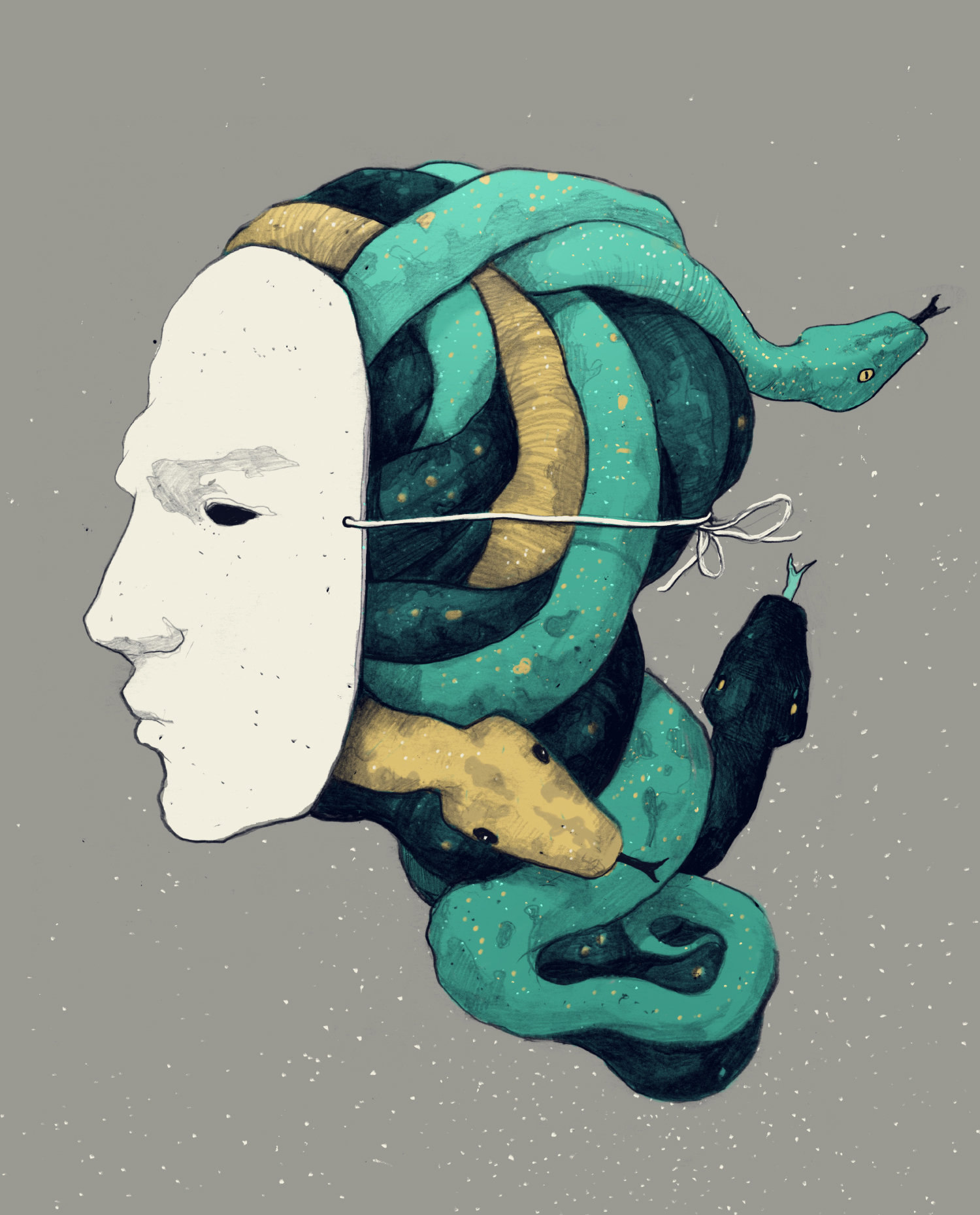 mask and snakes, portrait by simon prades