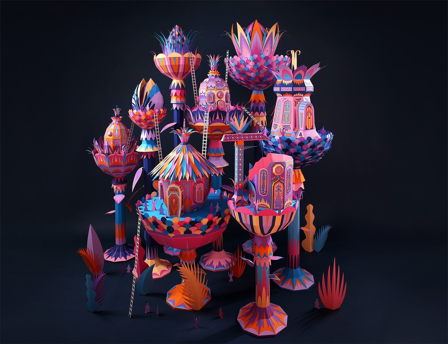 forest folks, pink, paper art by zim and zou