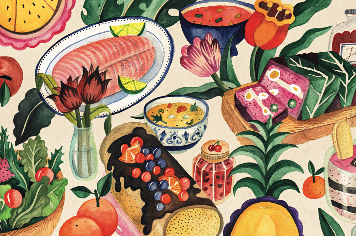 food , illustration for air france by aitch