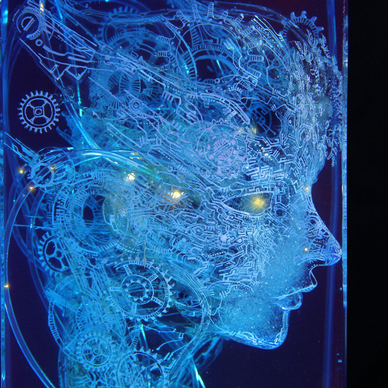 luminous robot sculpture
