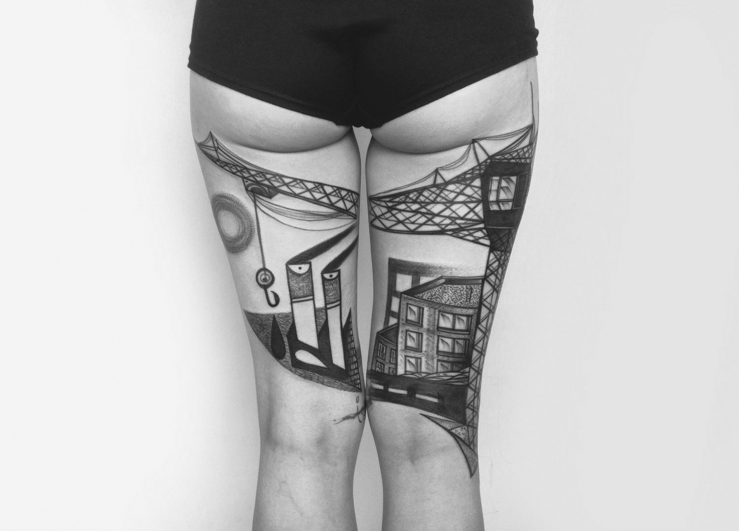 ndustrial architecture thigh tattoos by Peter Aurisch