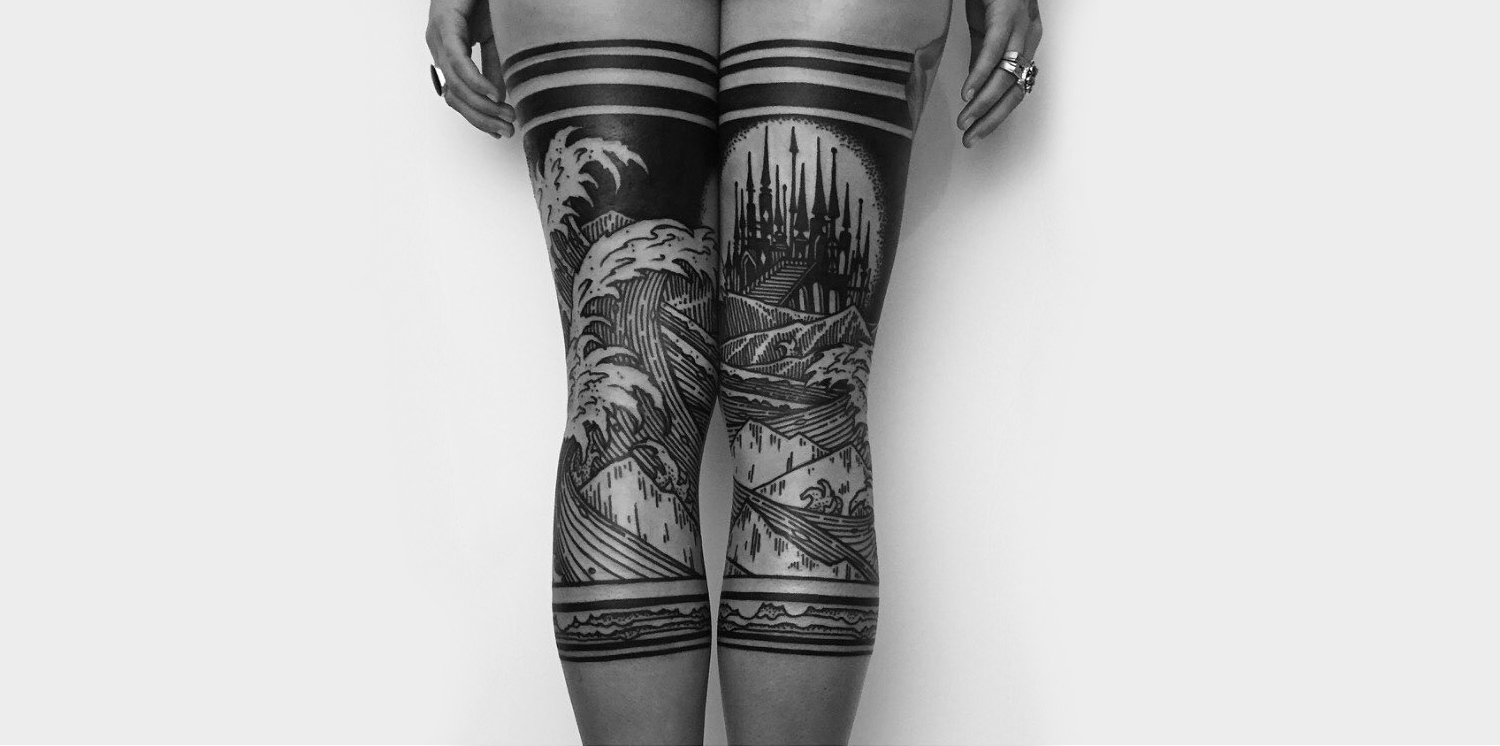 Blackwork legging tattoos by thievesoftower