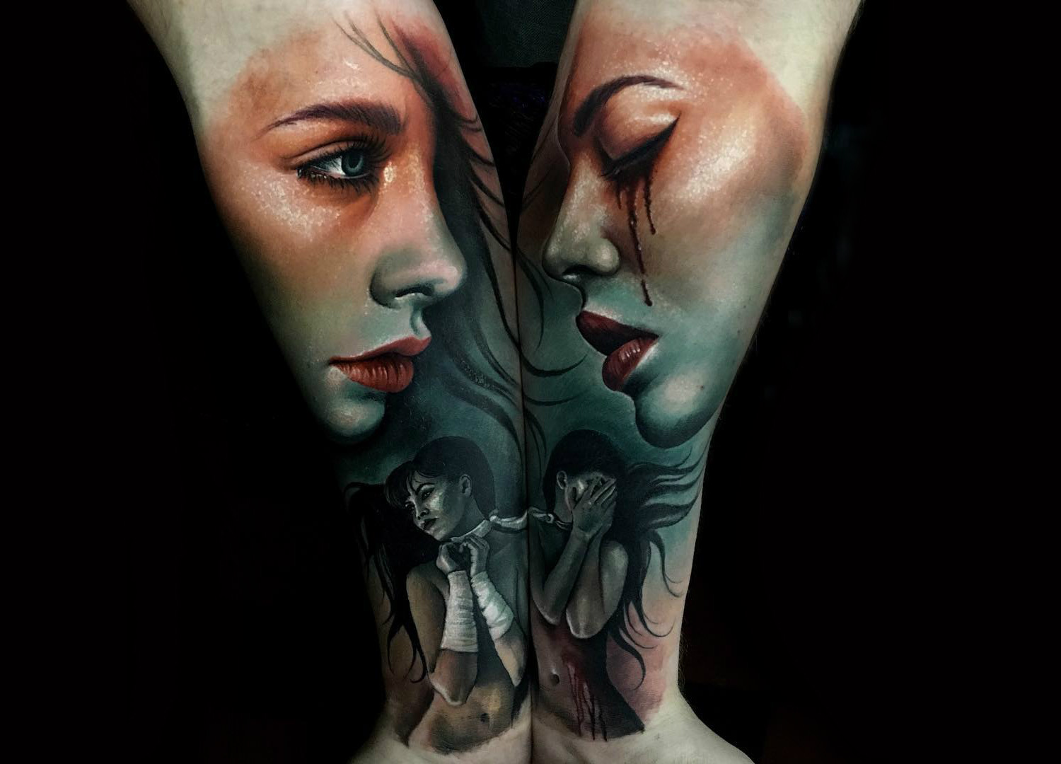 Double portrait tattoos by Sam Barber