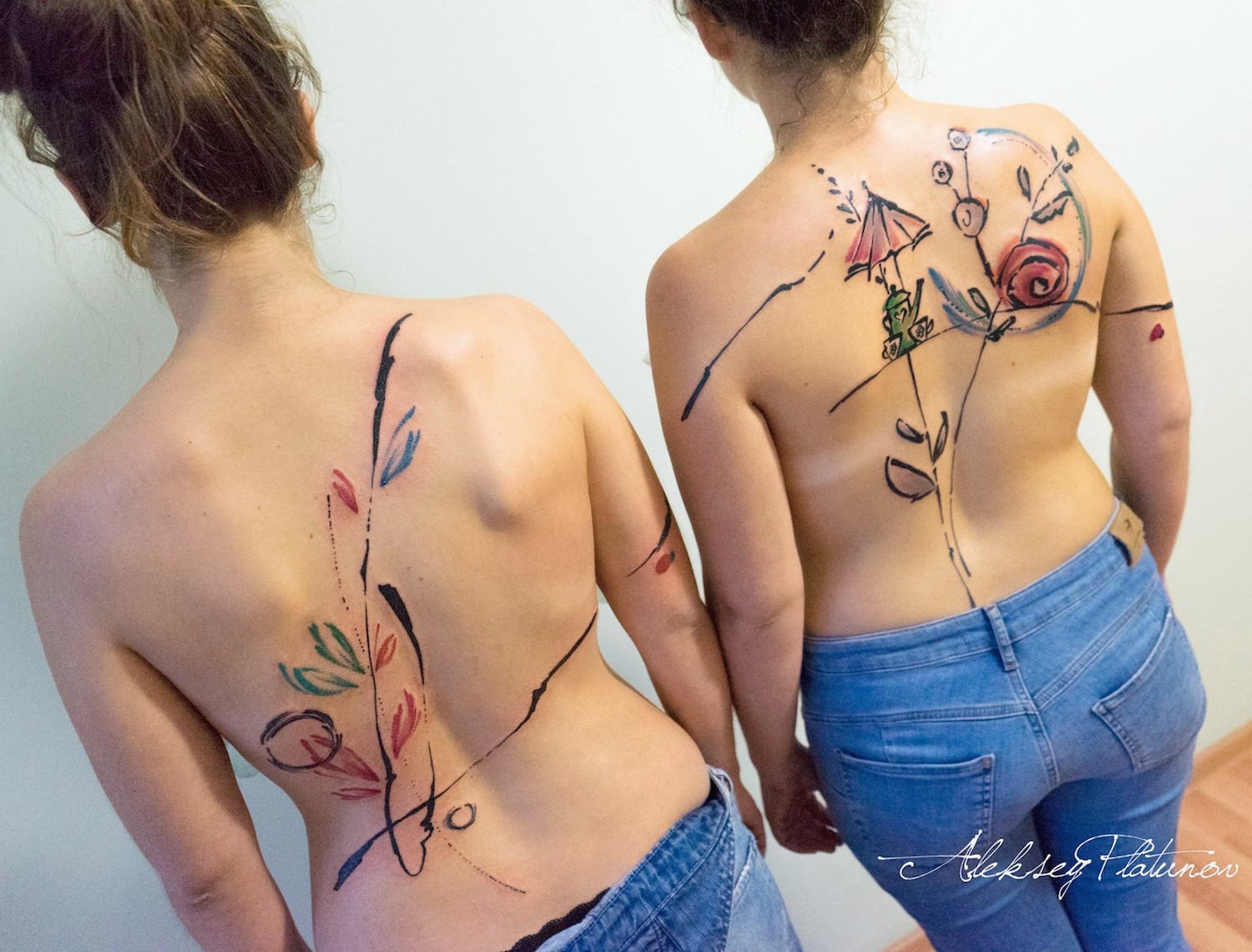 Freehand friendship tattoos by Aleksey Platunov
