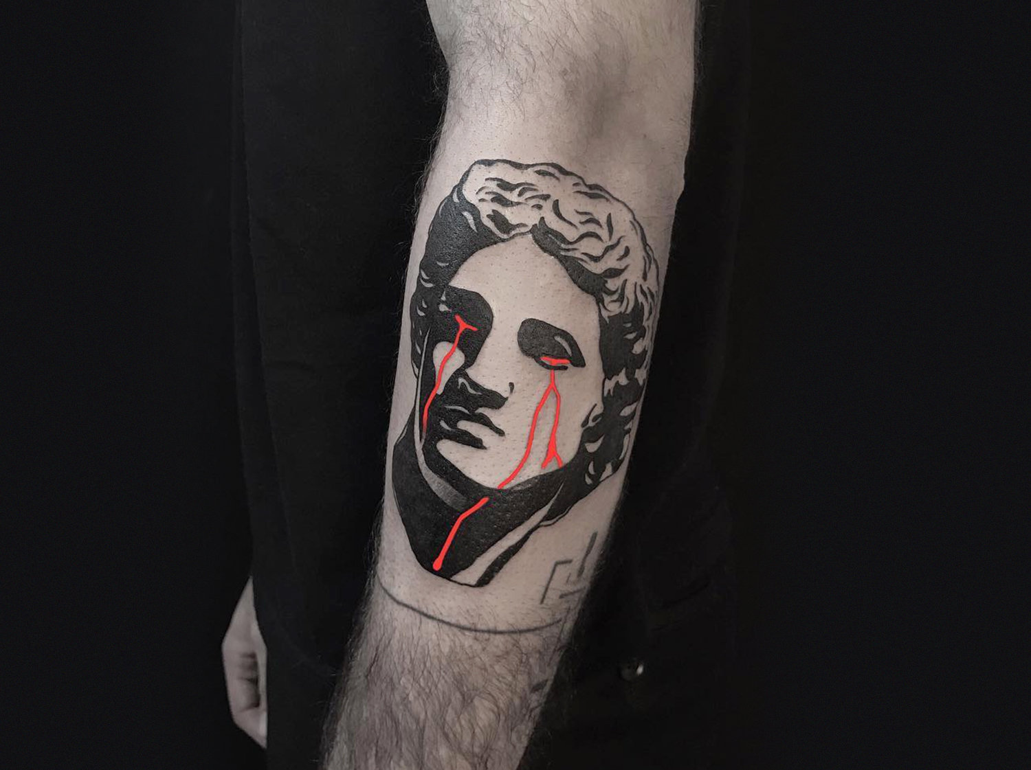 crying, classical sculpture tattoo