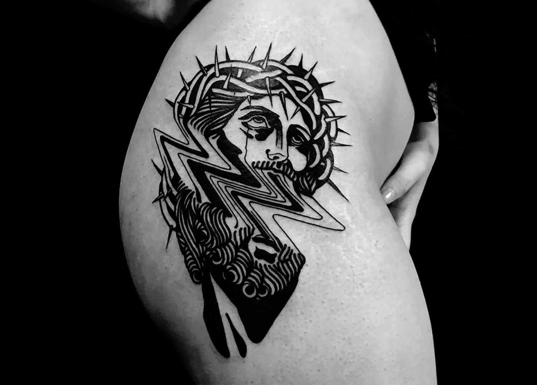 glitched jesus tattoo black ink