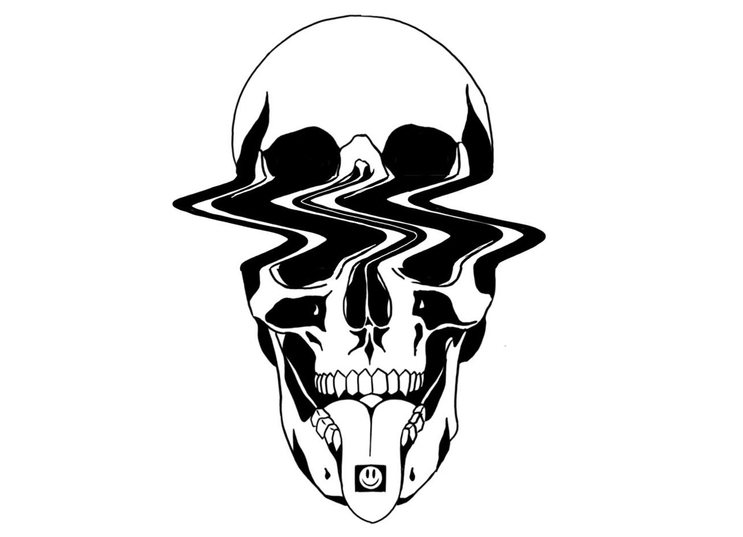 skull drawing, black ink