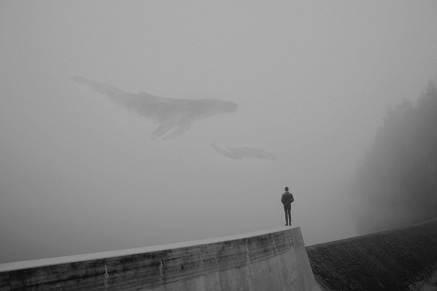Martin Vlach - figure on roof, whale in sky