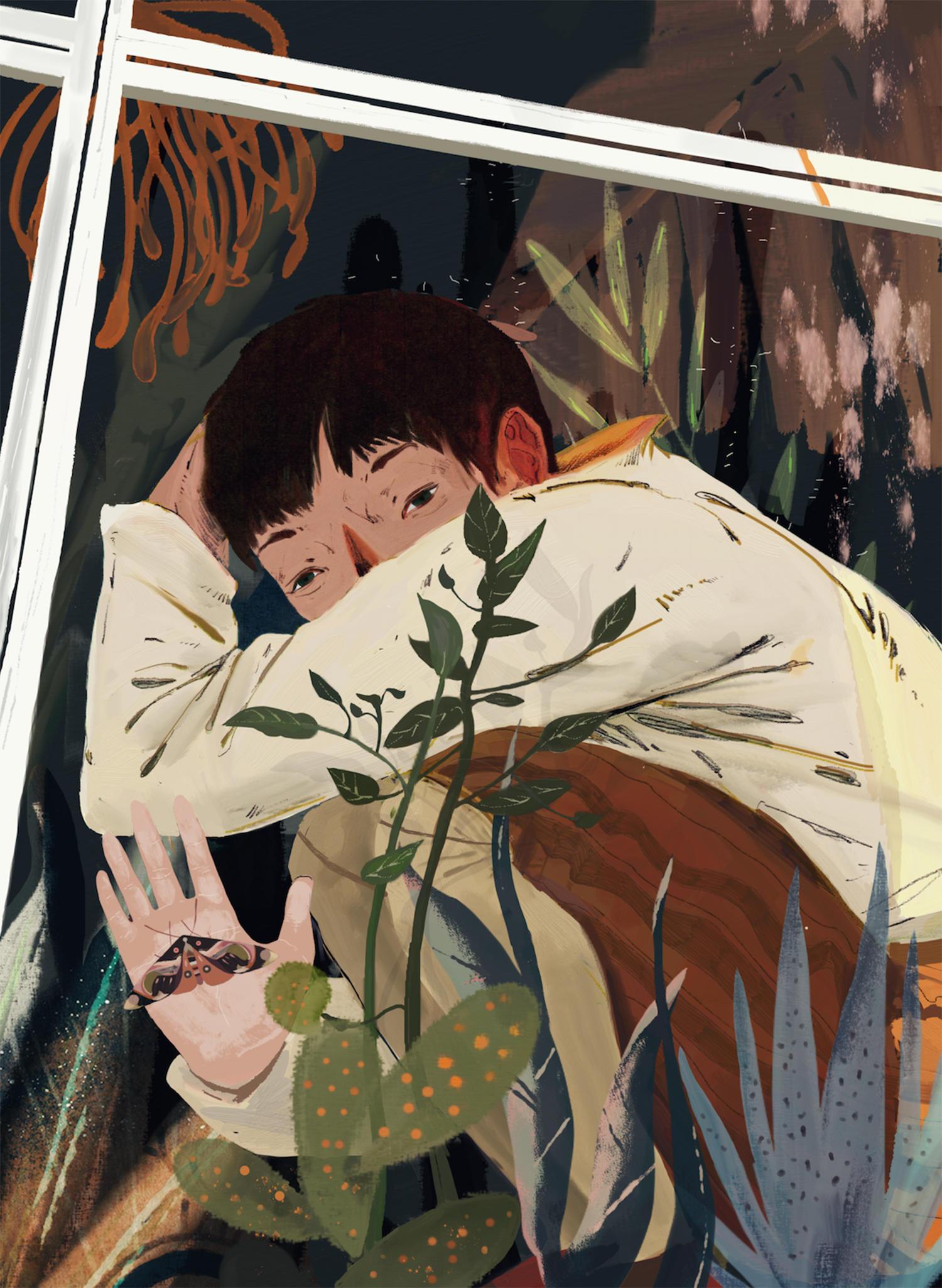 boy and moth, by nix ren