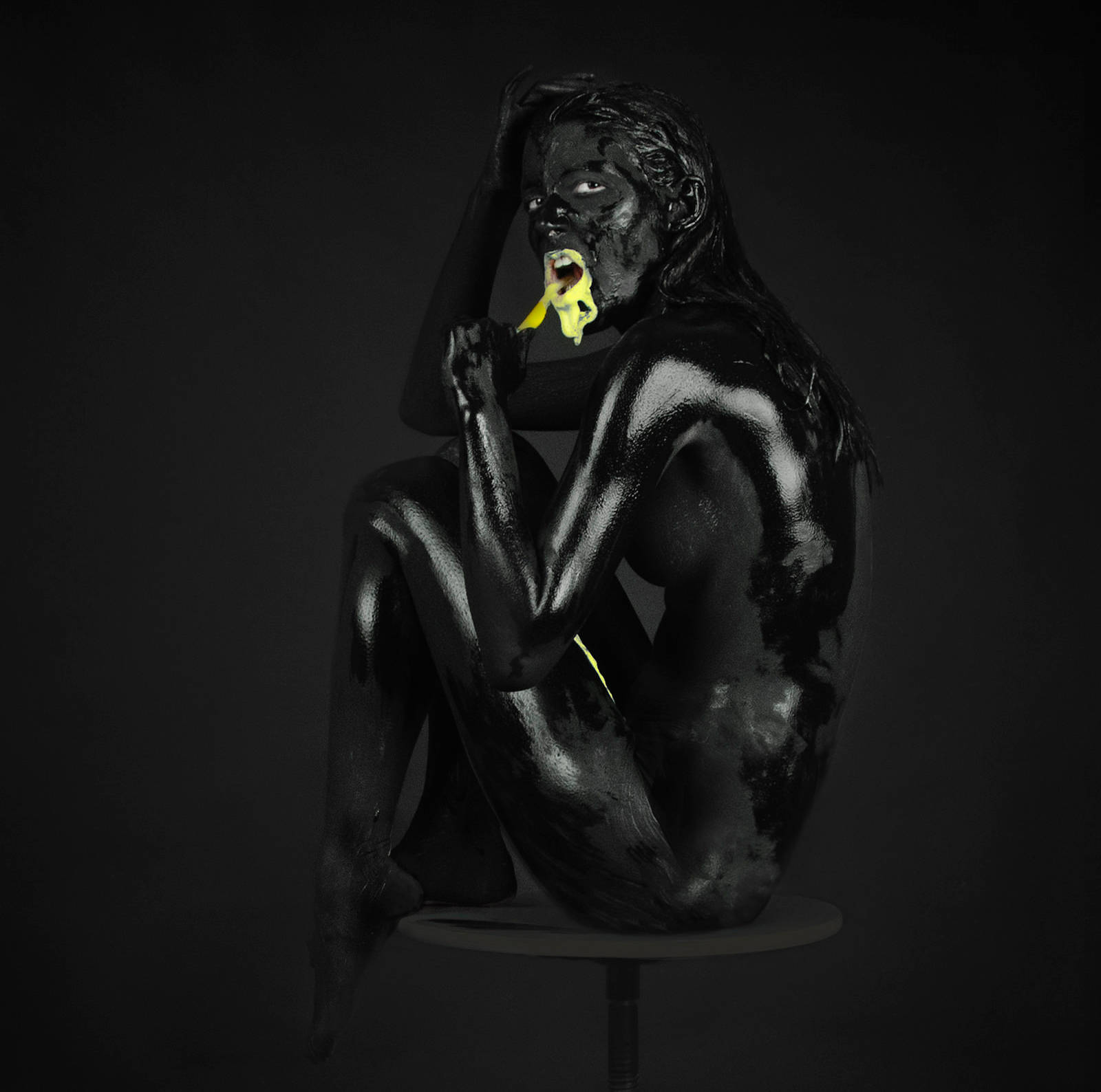 full body painting in black ink with yellow mouth, by Chiara Lombardi