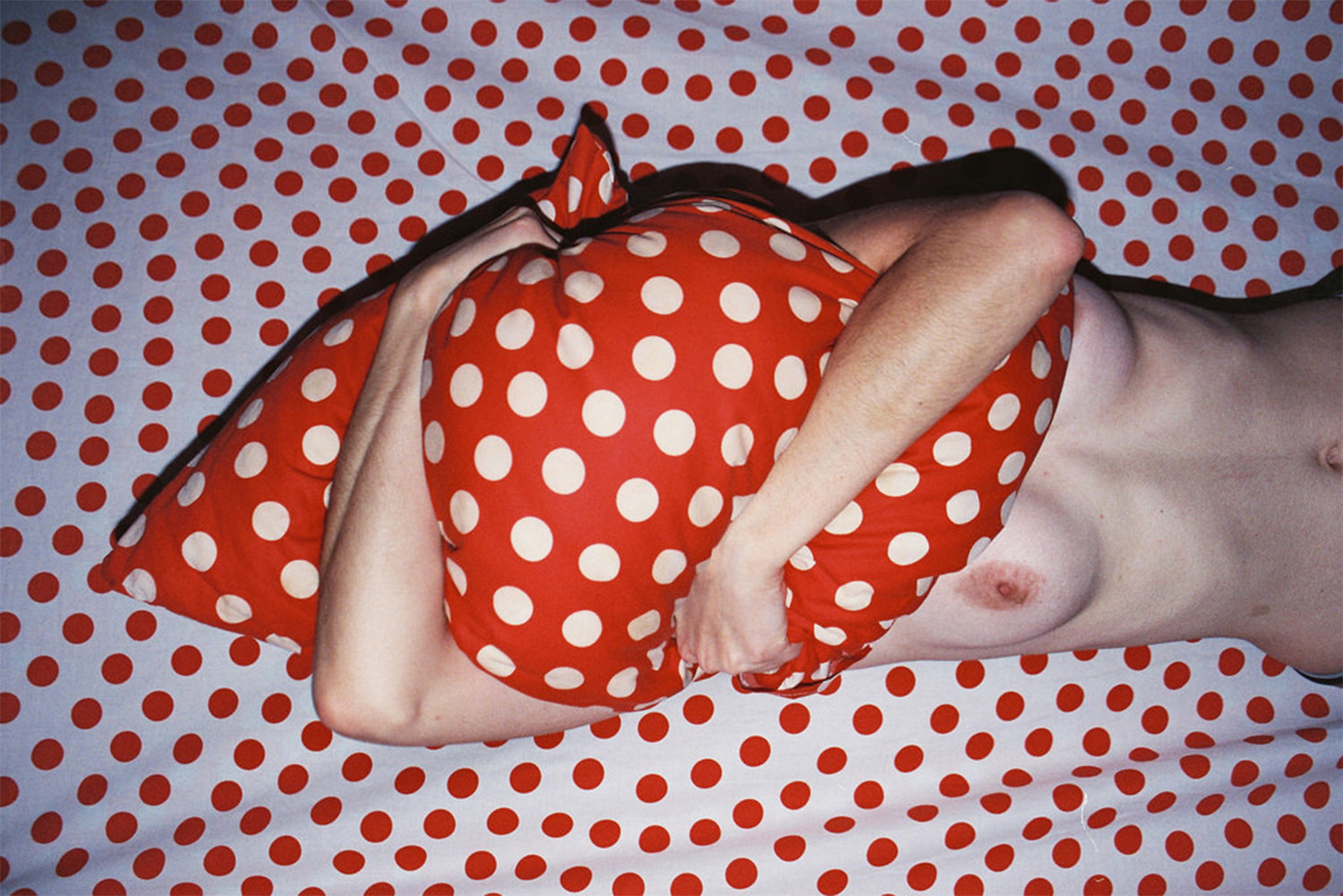 polka dots, red and white, pillow, by Lukasz Wierzbowski