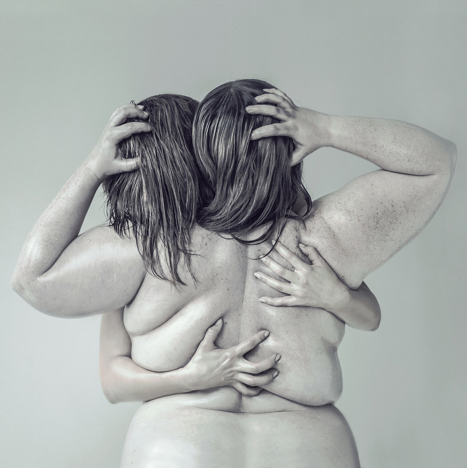 plus sized women hugging and grabbing hair, by evelyn bencicova, close series