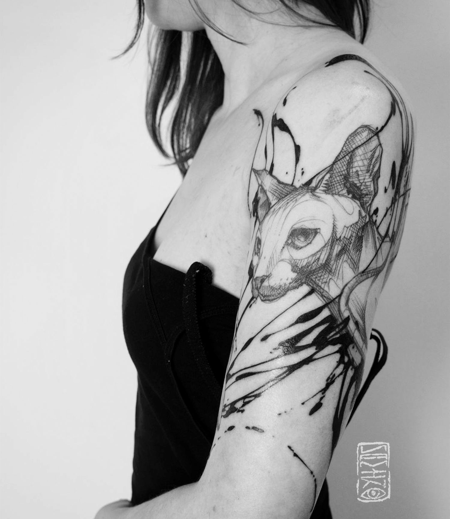 cat tattoo on sleeve by namiko_moth22