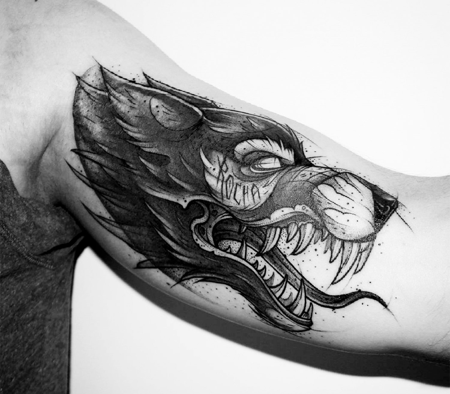 custom wolf tattoo inner arm, by kati berinkey