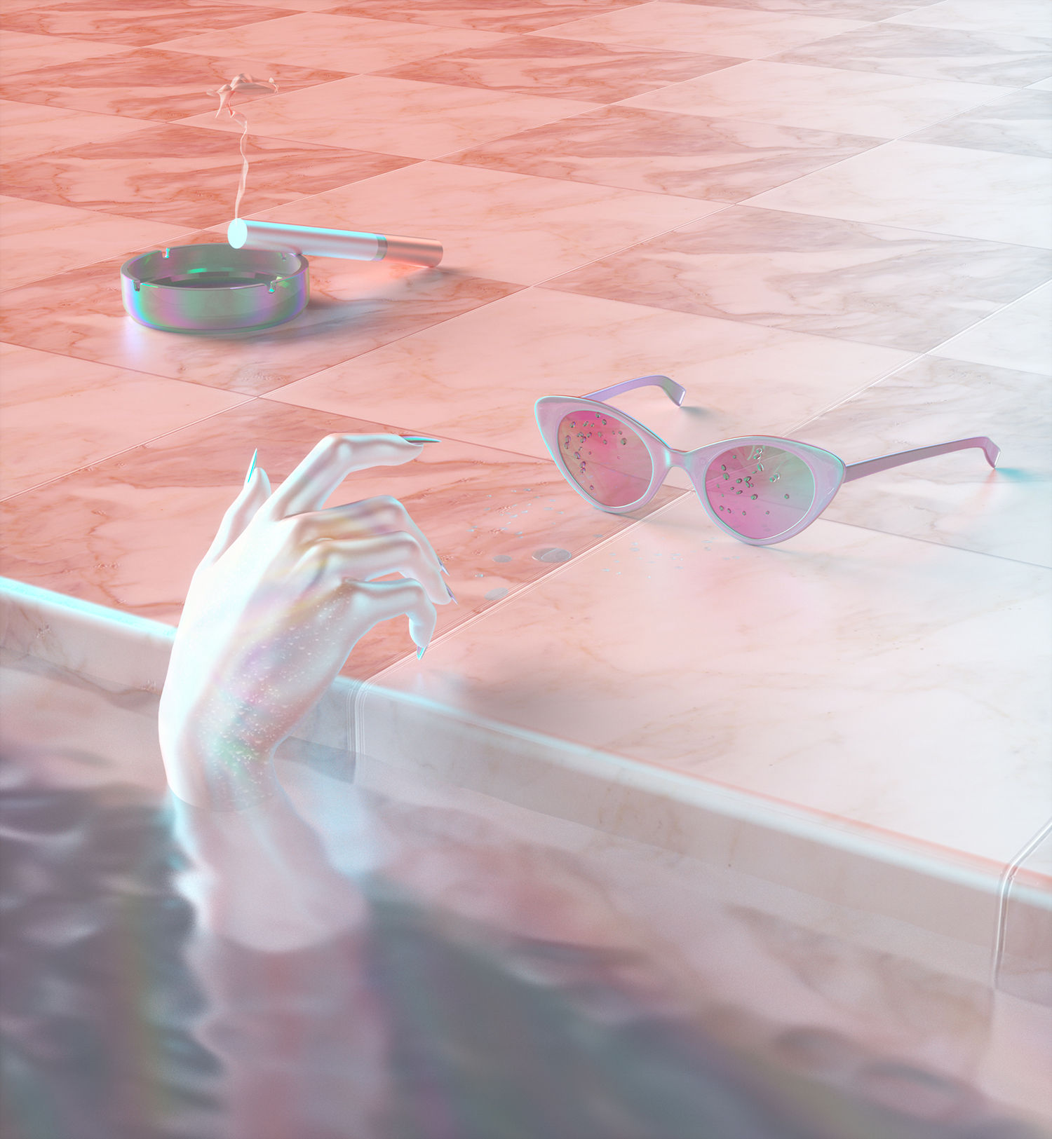 poolside, hand coming out of water, sunglasses, 3d art