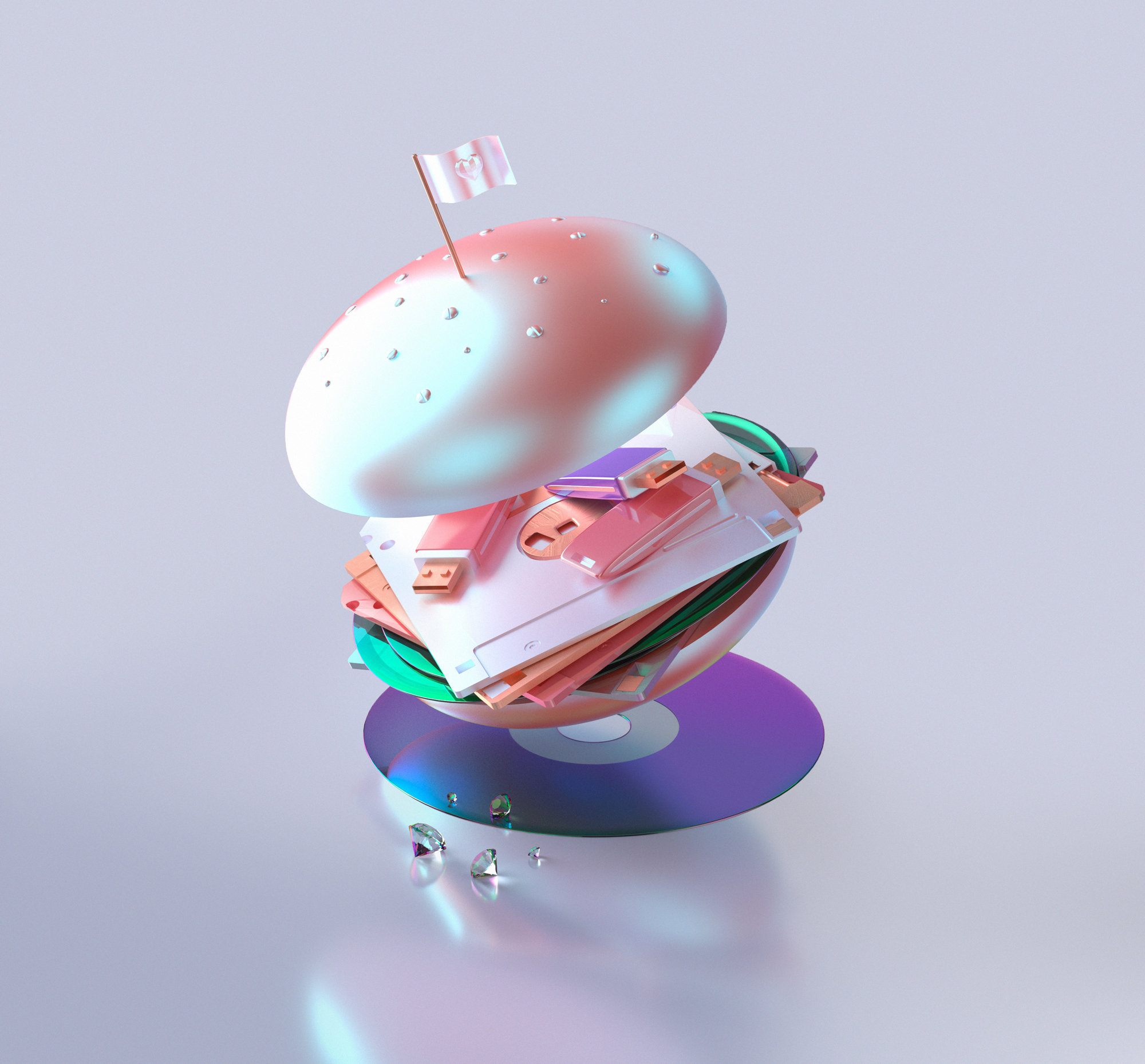mcCyber hamburger, 3d art, technology