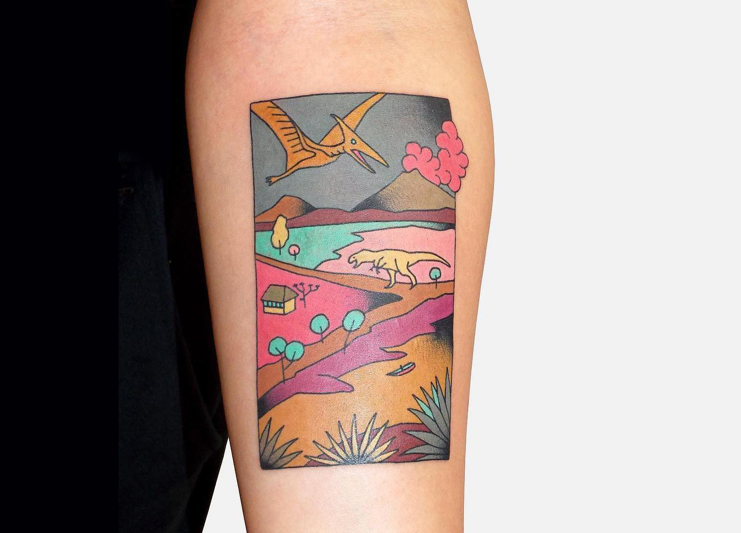 tattoo landscape of dinosaur