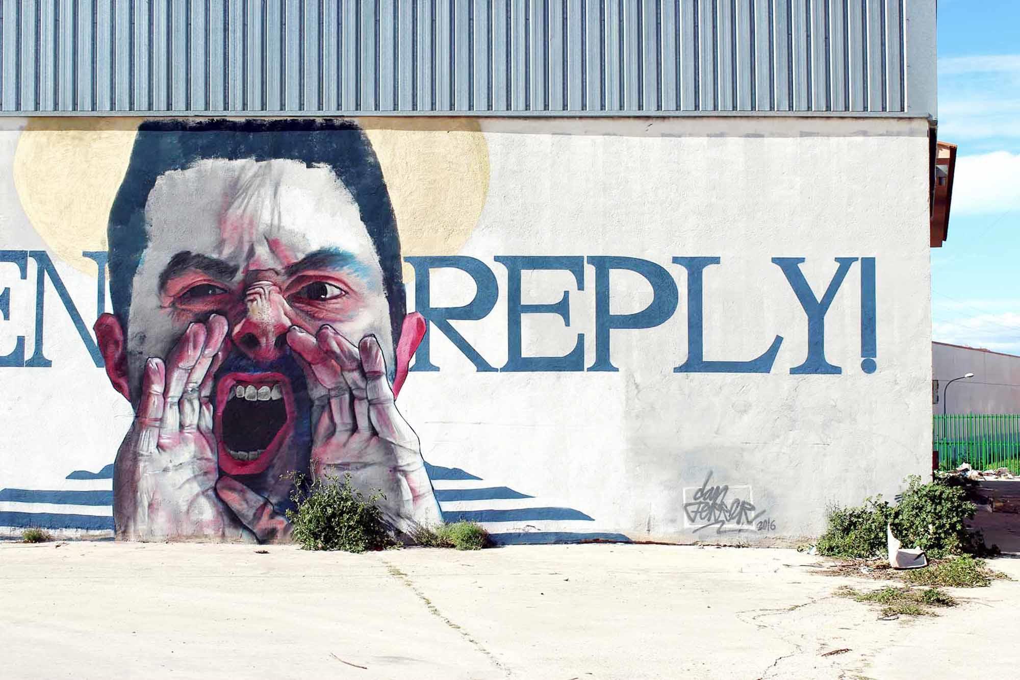 mural, man yelling