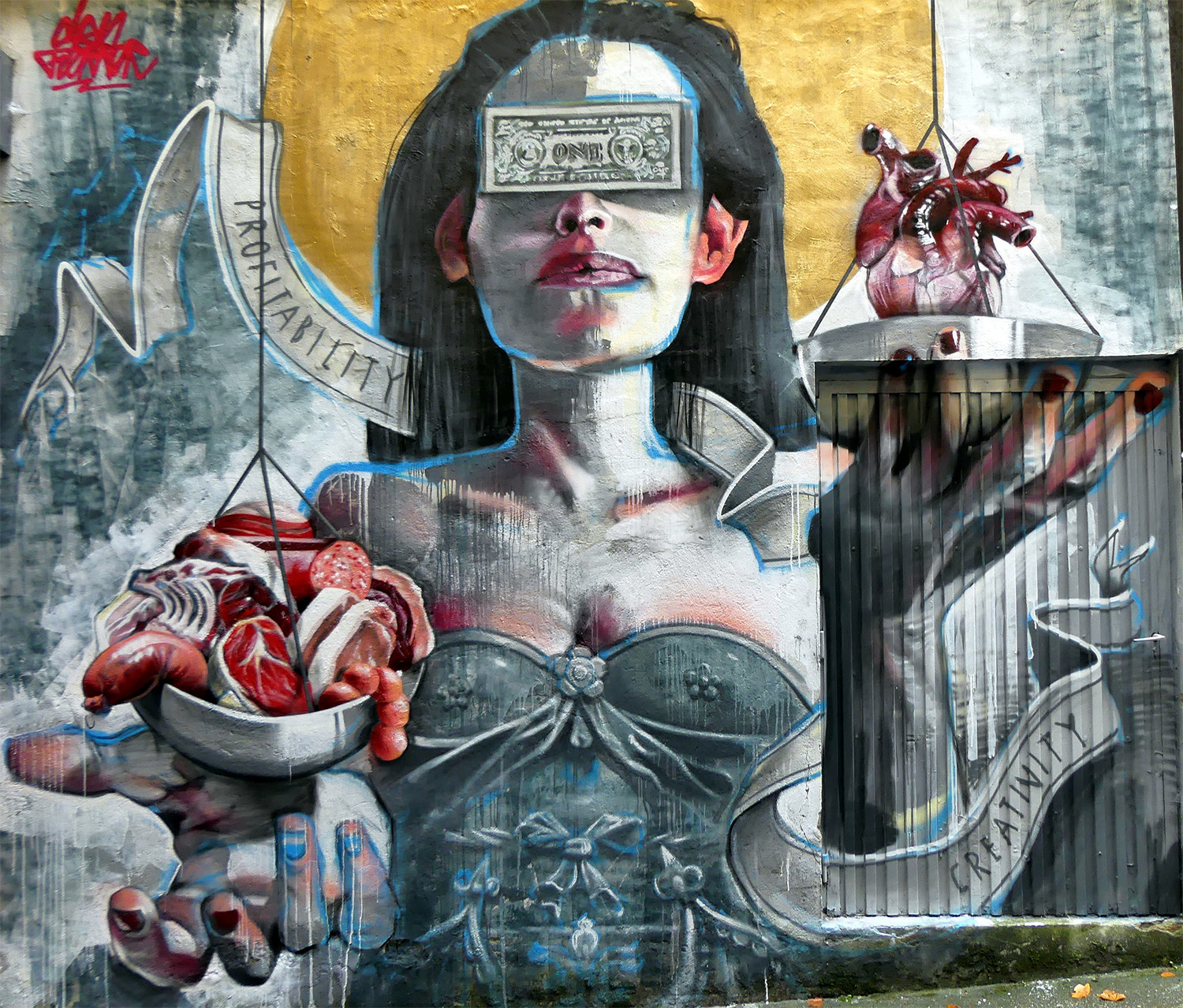 imbalance, graffiti piece, woman and weighing hearts