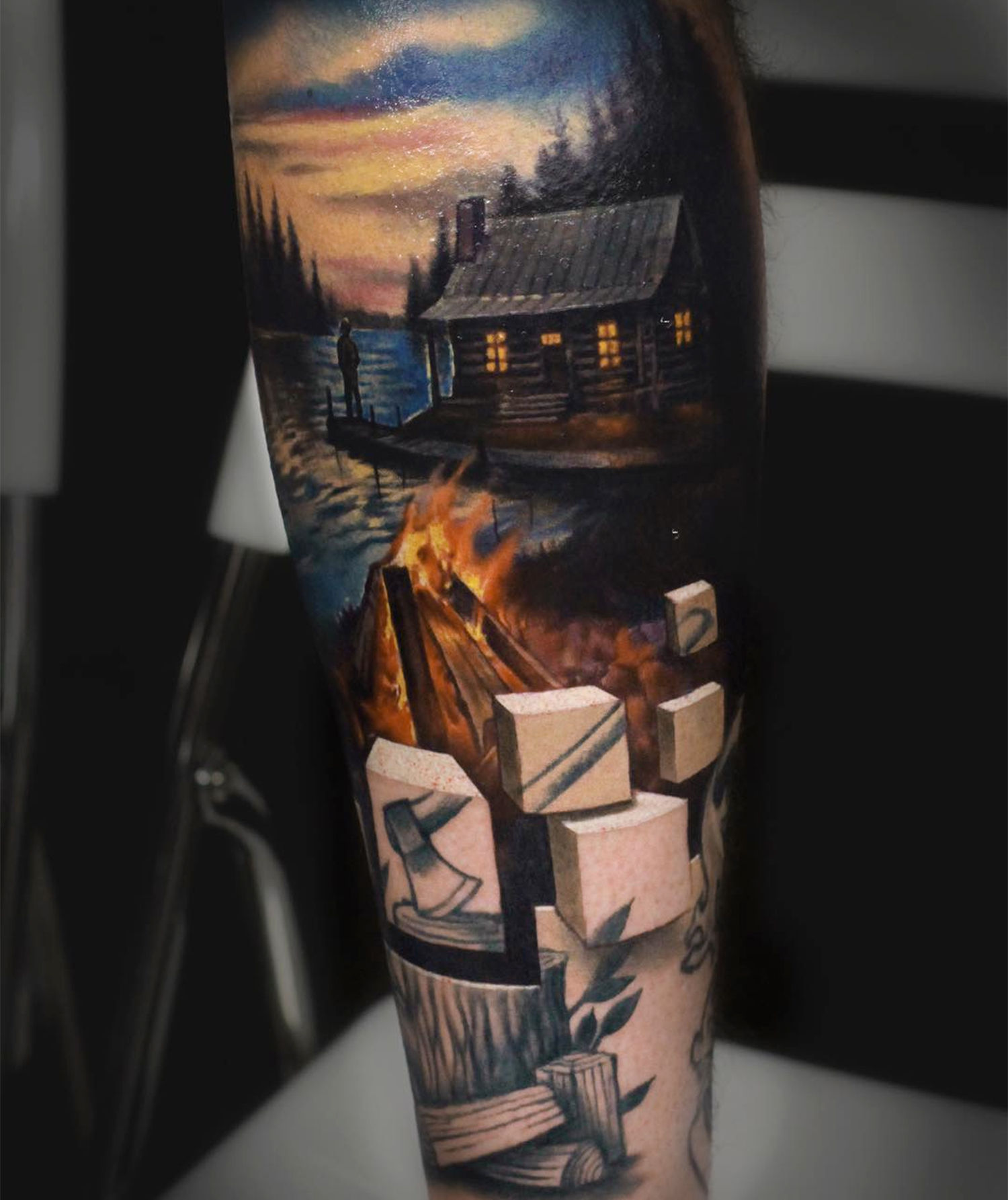 landscape tattoo with 3d cubes