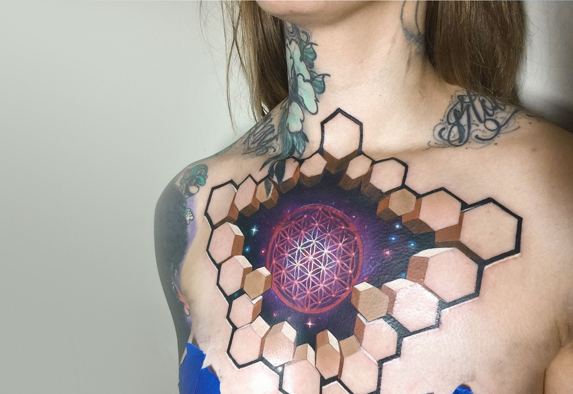 3d shapes, tattoo on chest