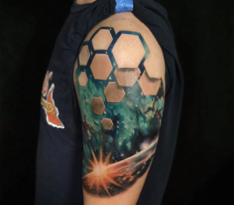 hexagon shapes, 3d effect tattoo