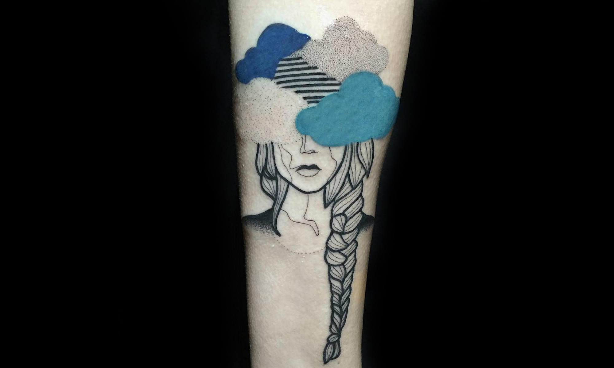 Head in the clouds tattoo by Kat Alden