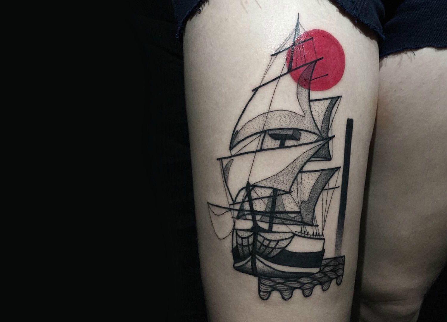 Sailing ship illustration tattoo by Kat Alden