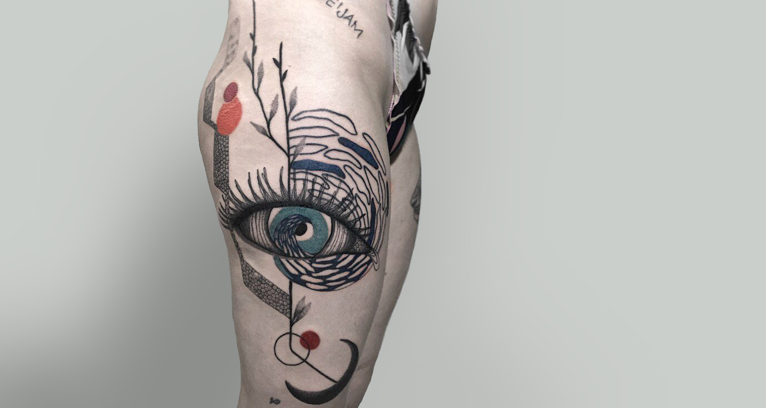 Surrealist eye sketch tattoo by Kat Alden