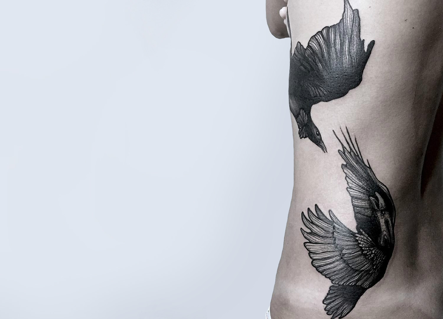 Black bird tattoos by Kat Alden