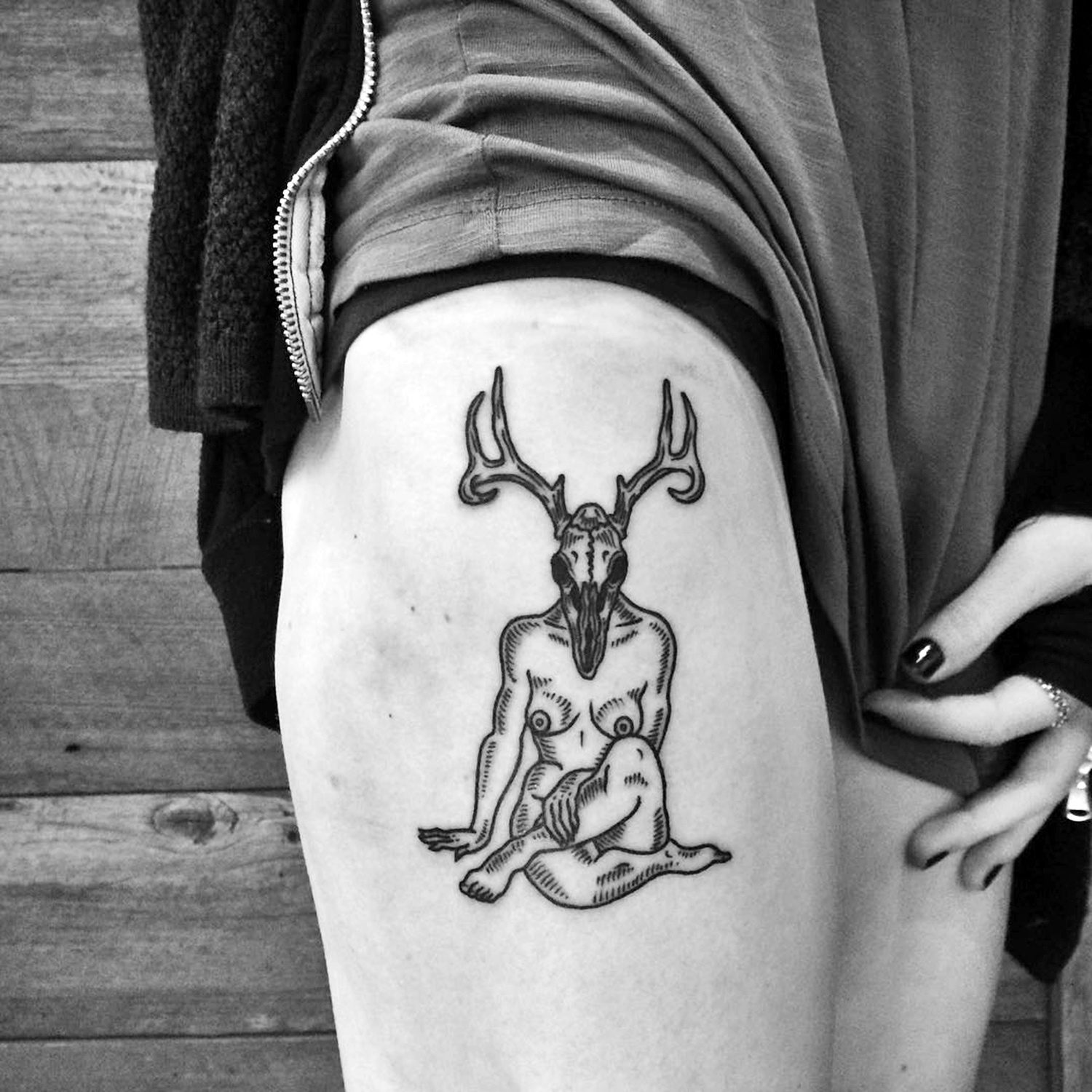 Meagan Blackwood, tattoo - deer skull head