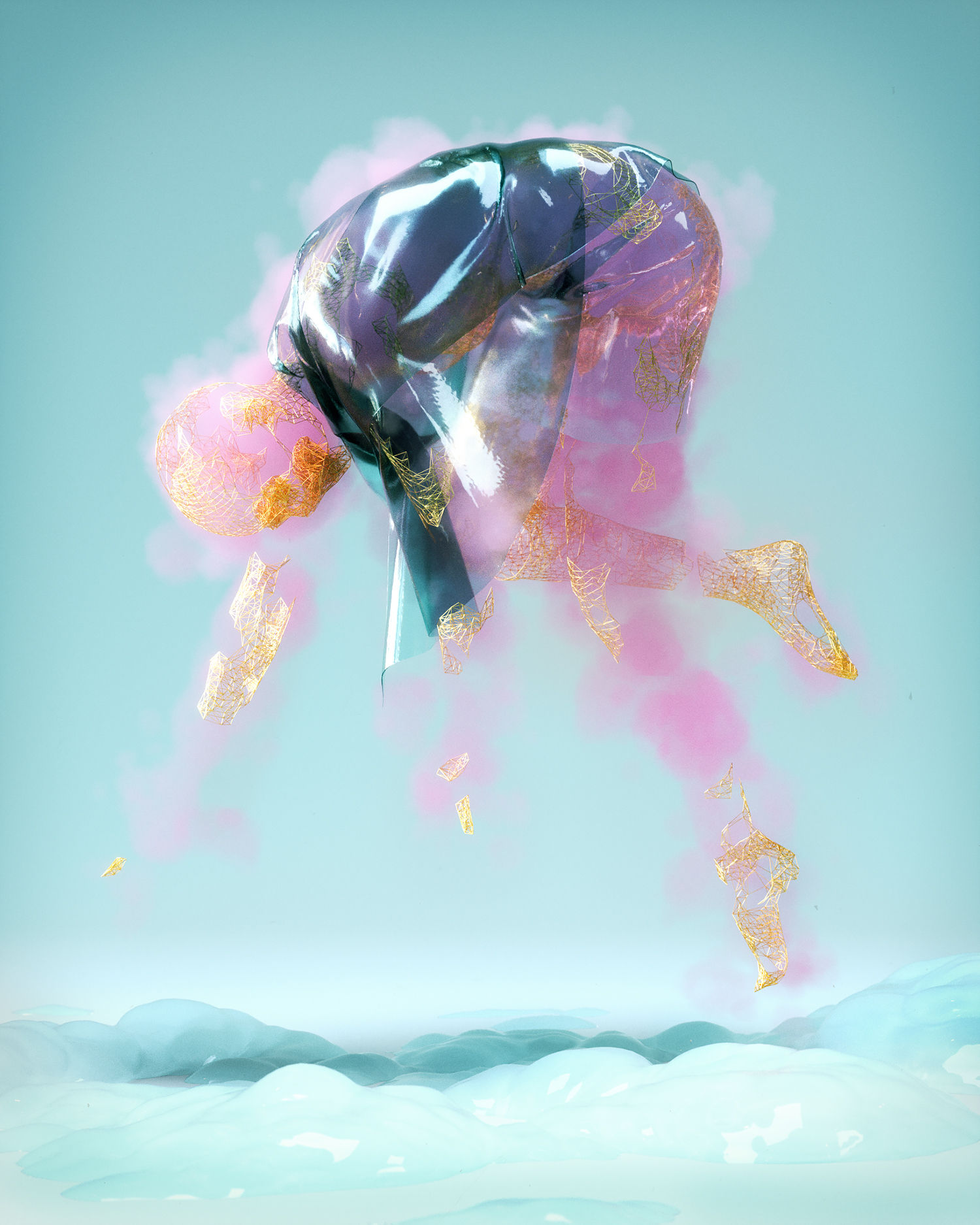 wake up, man floating in air, 3d digital art