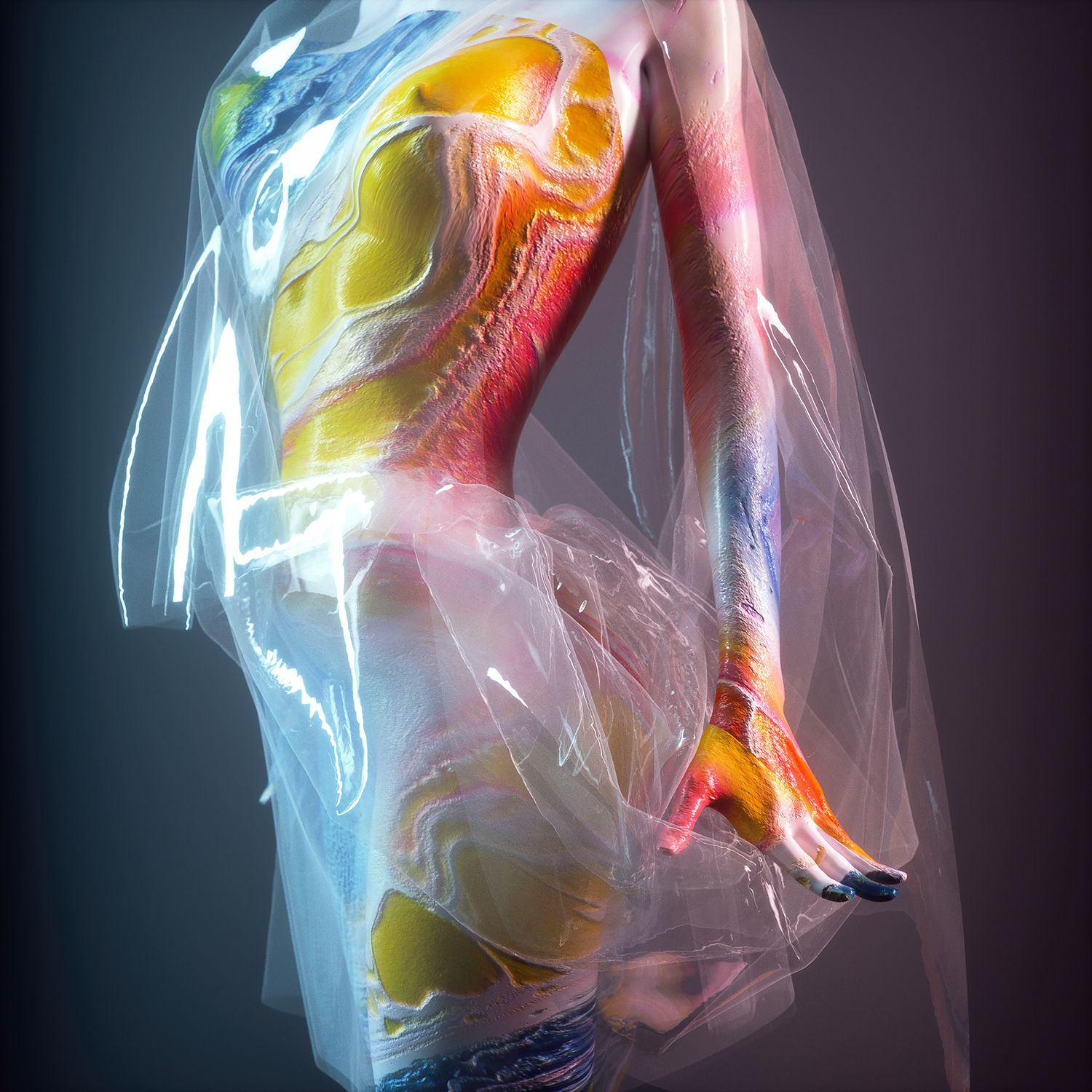 mirage, colorful woman, body shot, 3d art