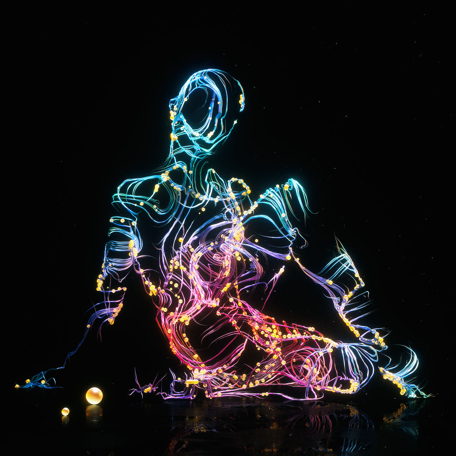 stylized figure, black background, colored lights