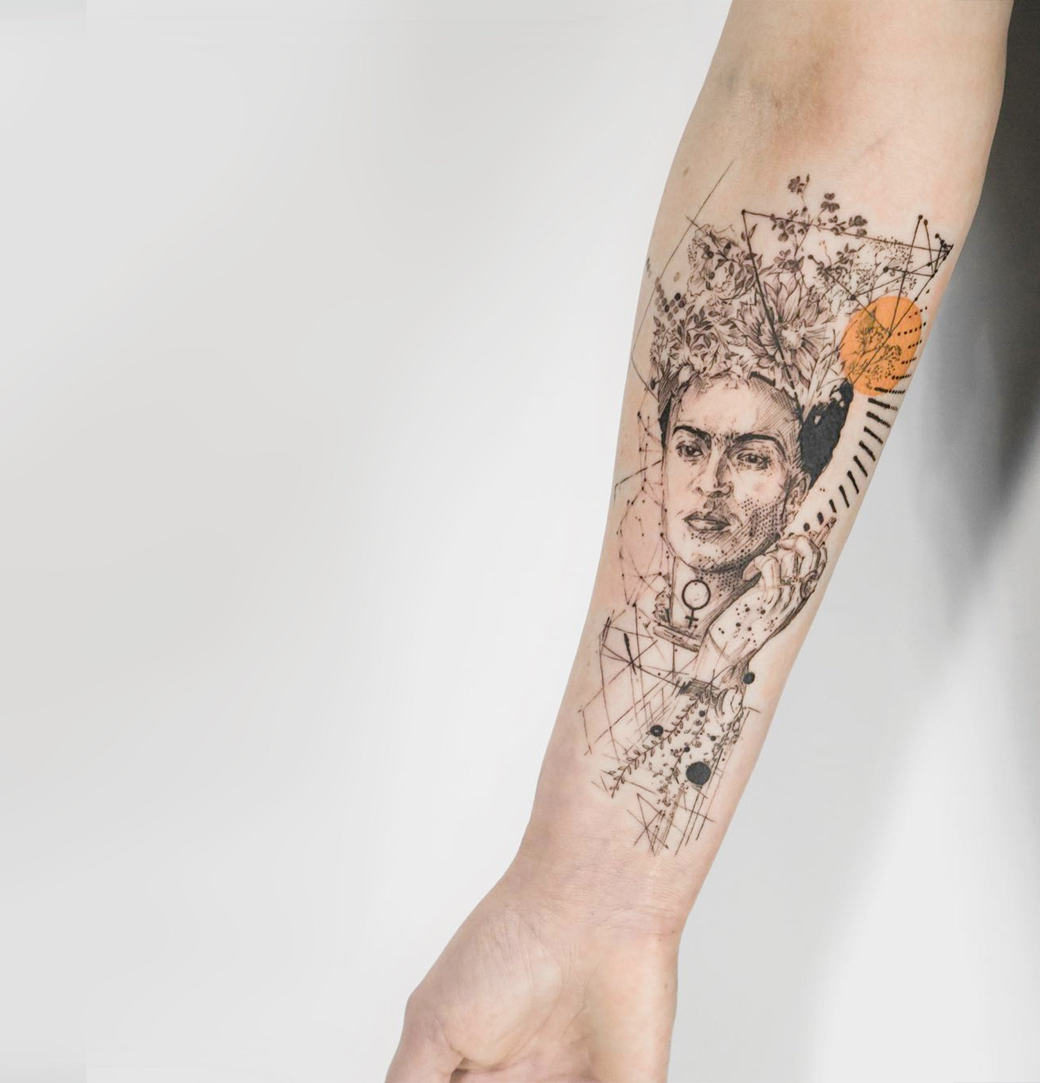 frida khalo portrait tattoo on arm