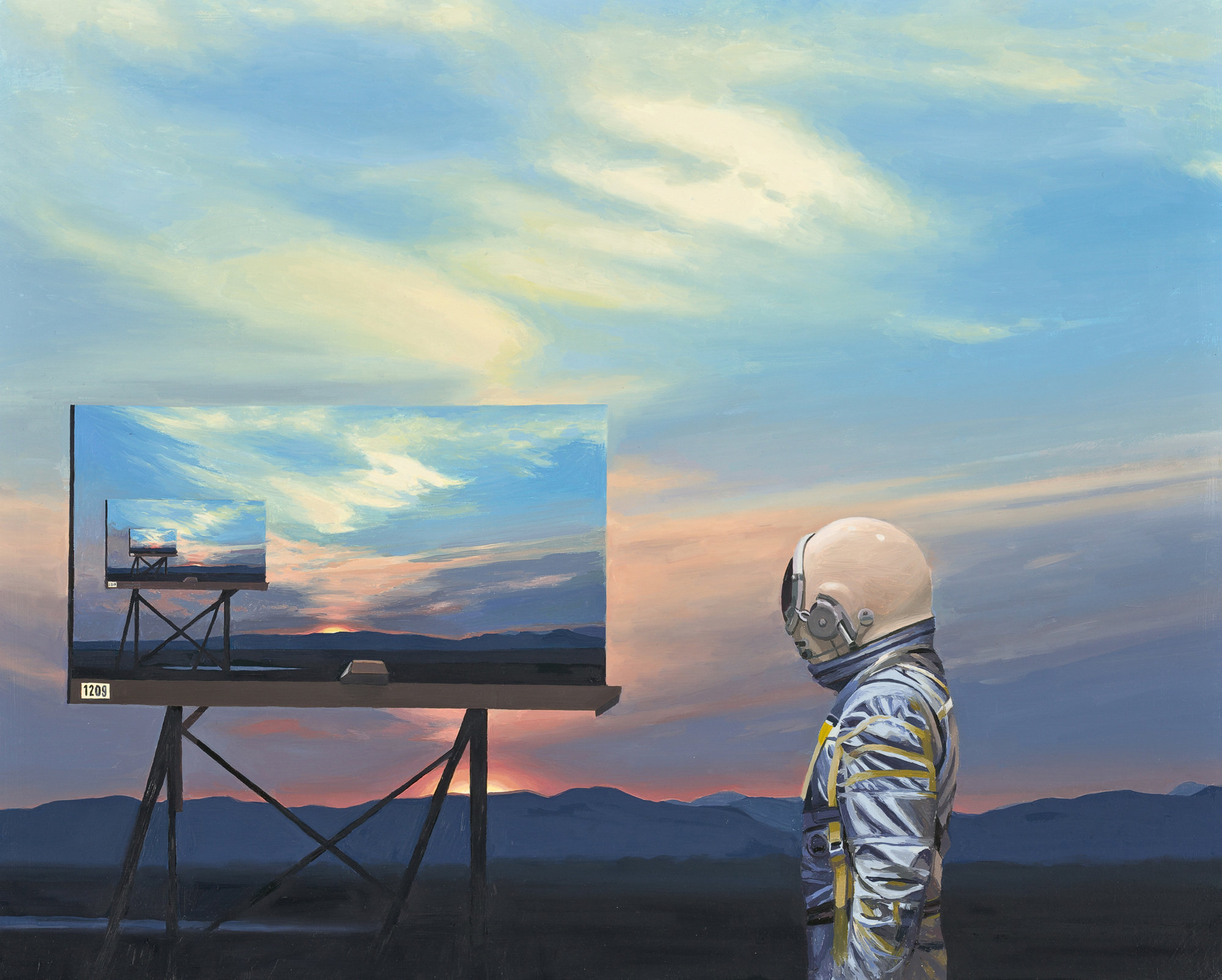 infinite advertising, astronaut and billboard,