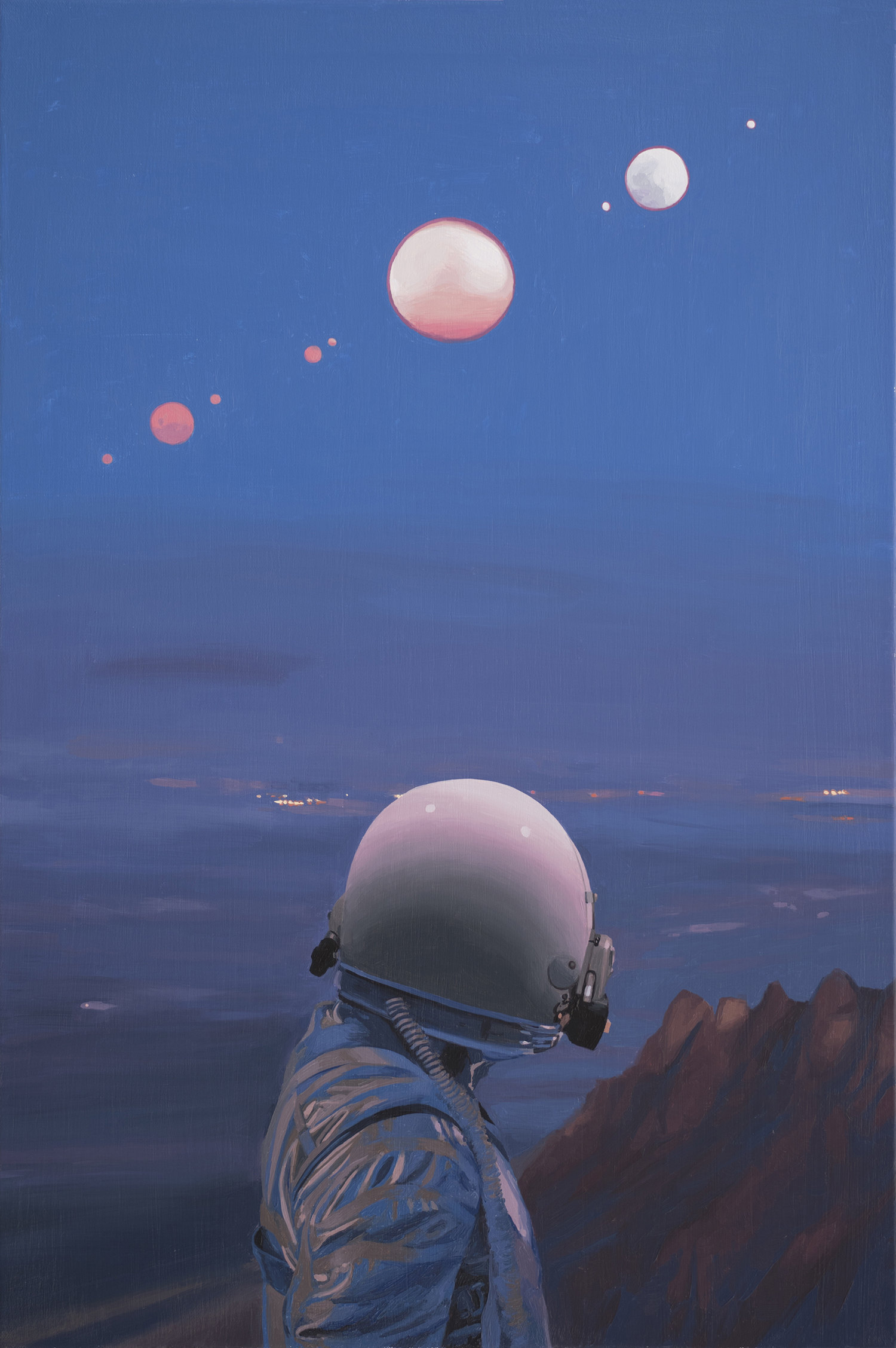 moons, astronaut looking over clift