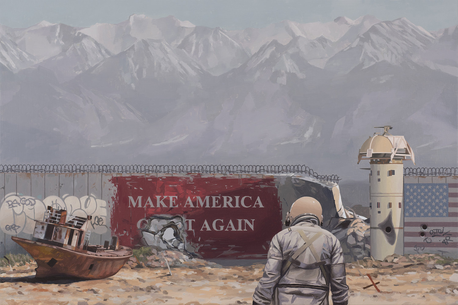 make american great again, astronaut and mountain backdrop, painting