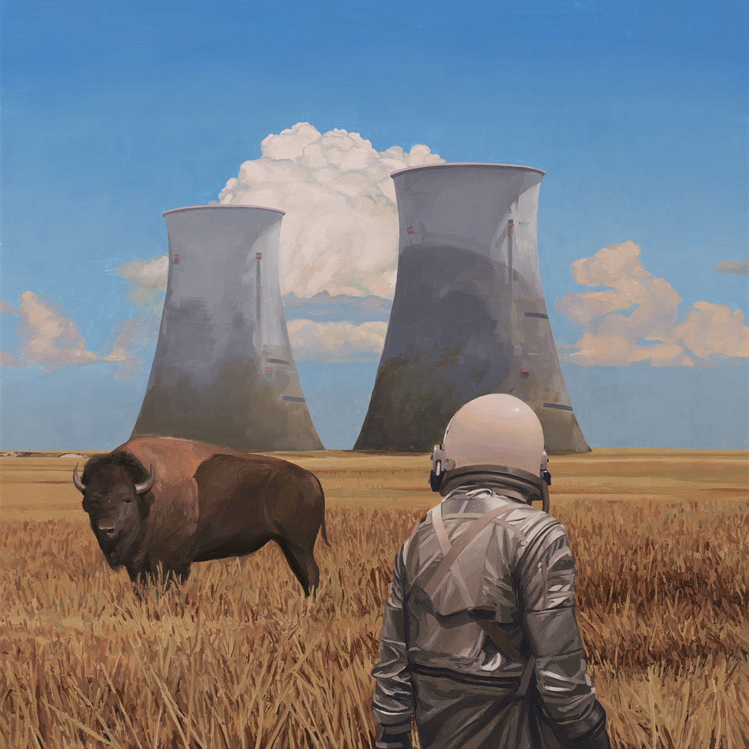 buffalo and astronaut in field, painting