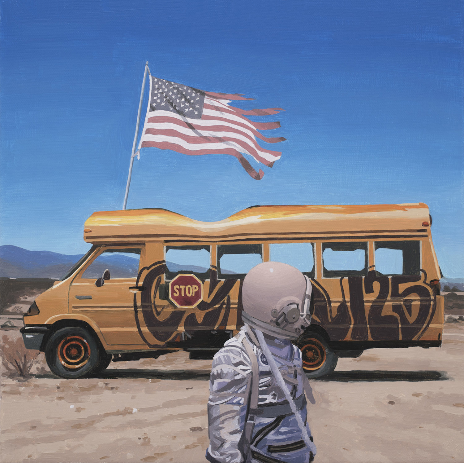 the bus, school bus with american flag and astronaut, painting